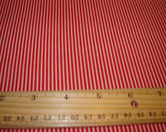 Red and white stripe fabric, per yard