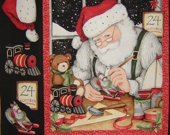 Per Panel, Busy Santa Christmas Fabric From Springs Creative