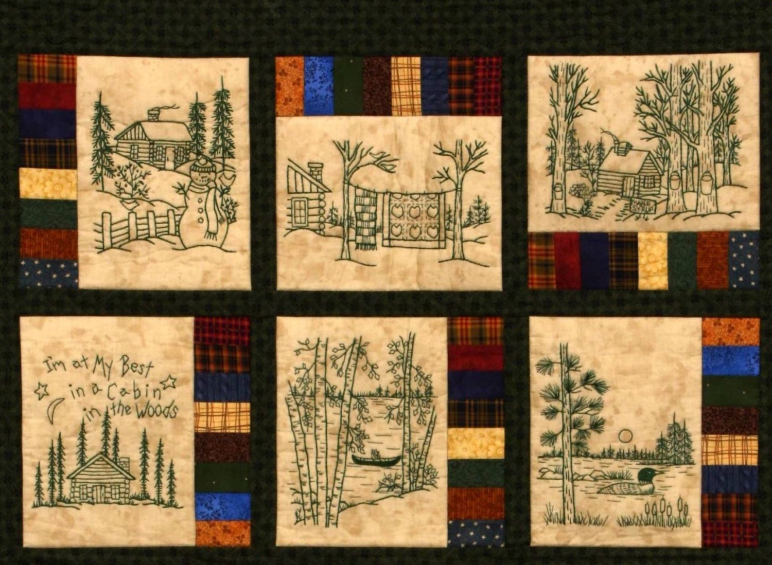 Northwoods Memories Quilt Pattern 12 Redwork Hand Embroidery : embroidered quilts patterns - Adamdwight.com