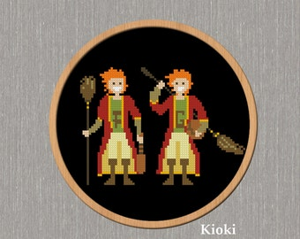Cross Stitch Pattern Fred and George Weasley Instant Download
