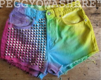 Vintage high waist cut off denim shorts vivid rainbow boho festival stud 26 size 6 chakra PEGGYOWASHERE OOAK  beach rave
