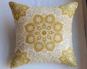 Medallion Pillow Cover in Gold from Jaclyn Smith Home Collection with Trend Fabrics