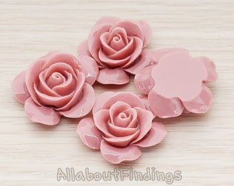 CBC189-DIP // Dark Indian Pink Colored Rose Flower Flat Back Cabochon, 2 Pc