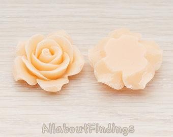 CBC157-07-PE // Peach Colored 35mm Angelique Rose Flower Flat Back Cabochon, 2 Pc
