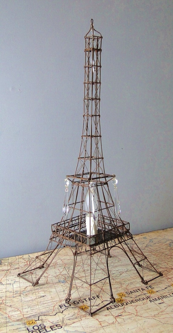 eiffel tower table lamp night light 24 tall hand made with crystal. Black Bedroom Furniture Sets. Home Design Ideas