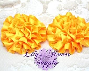 Satin Petti Puff - SET of 3 - Golden Yellow - Satin Flower - Puff Flower  - Rosettes - Satin rosettes - Rolled Rosettes - Wholesale