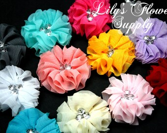 Grab Bag Chiffon Wrinkle Flowers - Bella Collection - 2.2 inch - Satin Flower - Ballerina - Chiffon Fabric Flower - Rolled Rosette