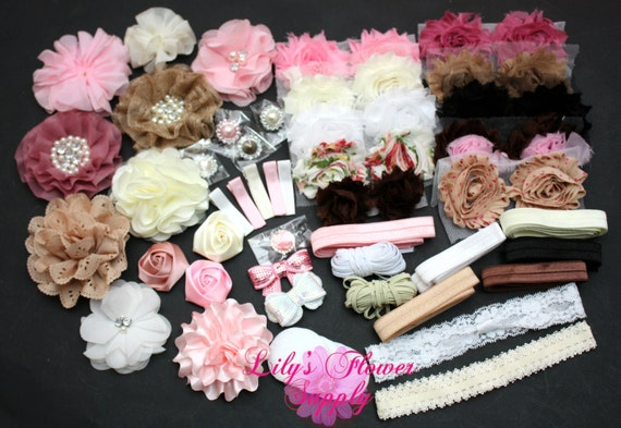baby shower headband kit deluxe diy hair bow kit baby shower. Black Bedroom Furniture Sets. Home Design Ideas