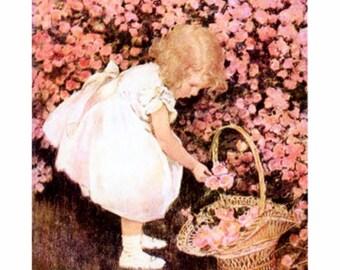 Betty's Posie Shop, Jessie Willcox Smith, flower Basket, Child, Flowers, babys room decor, childrens decor, canvas art prints, illustrations