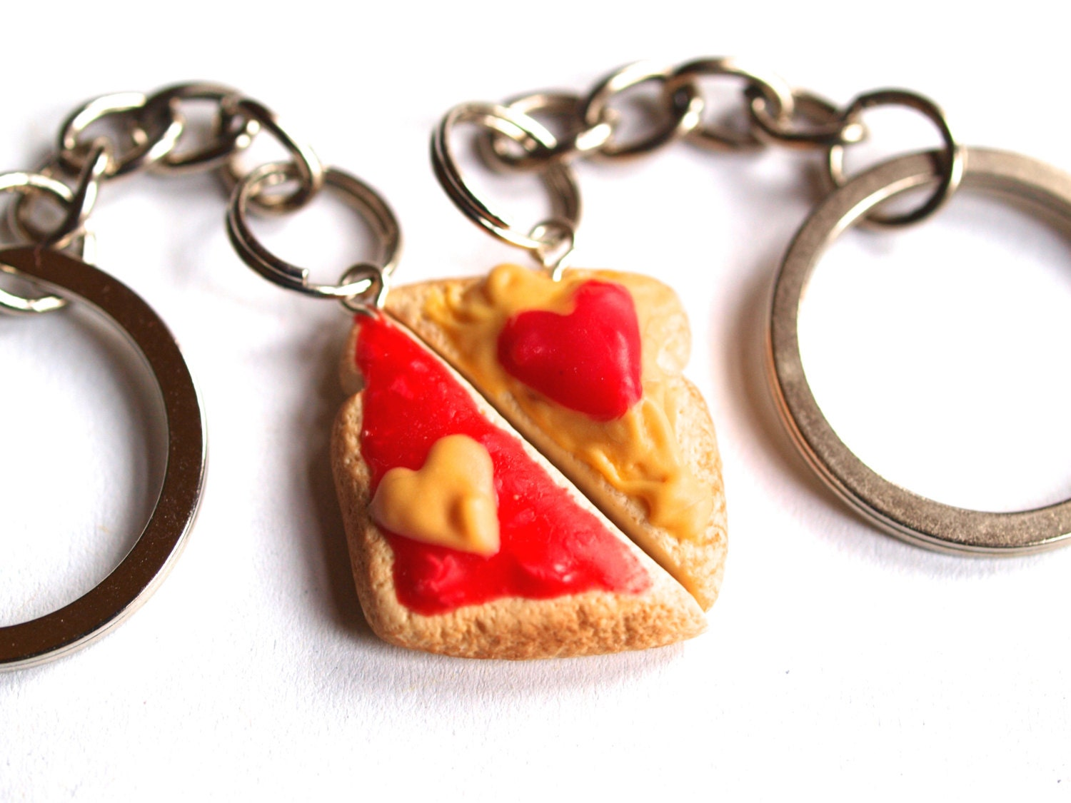 Best Friends Keychain Peanut Butter Jelly Heart by MignonnerieShop