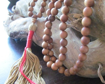 Mala Beads, Sandalwood and Obsidian, Traditional 108 Bead  Mala, Mala Necklace, Meditation Beads, Japa Mala, Yoga Jewelry, Long Necklace