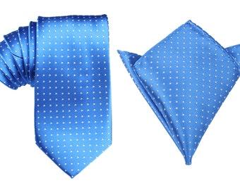 Matching Necktie + Pocket Square Combo Blue with White Polka Dots (X445-T85+PS) Men's Handkerchief + Neck Tie 8.5cm Ties Neckties Wedding