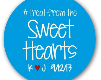 "30 Glossy 1.5"" Round Sticker Label Tags  - Custom Wedding Favor & Gift Tags - Choice of Colors - Treat Sweet Hearts"