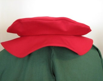 Medieval Renaissance Red Twill Floppy Cap Hat