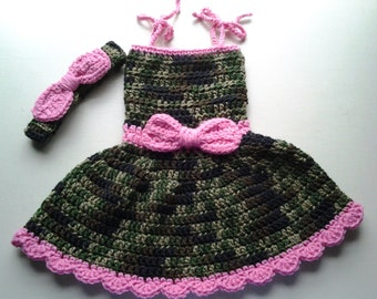 Baby camo dress & headband, crochet baby dress, girl's camo and pink dress, camo and pink dress, camo dress, camoflage pink, camo outfit