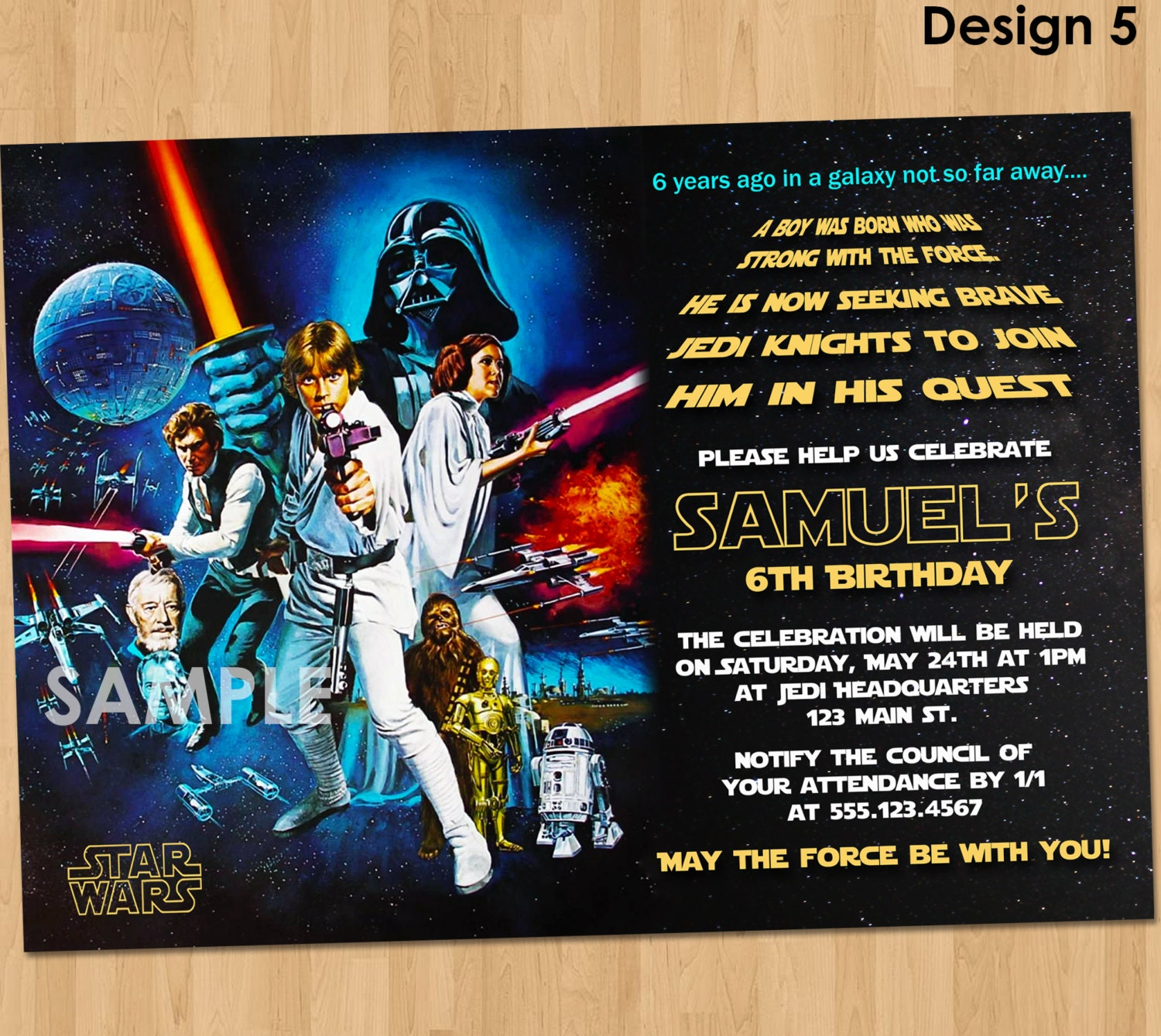It is a photo of Adaptable Printable Star Wars Invitation