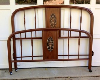 antique metal hand painted bed art nouveau