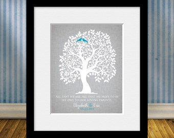 Keepsake Thank You Print, Parent's Thank You Wedding Gift, Thanks Mom and Dad!, Parents Anniversary Gift, Christmas Gift for Parents