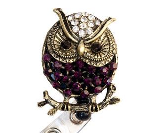 New Custom Merlot Owl Rhinestone Retractable Badge Reel/ Rhinestone Badge Holder
