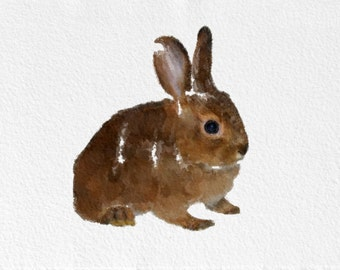 Rabbit Painting Art Print   Animal black white grey brown Home Decor  Wall Decor Kitchen Decor Beach Decor