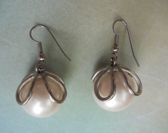 Large Pearl and Silver Drop Earrings