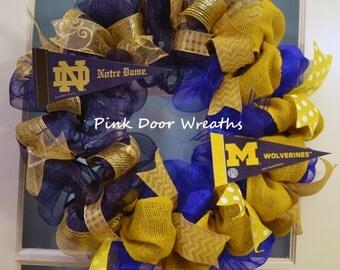 Made To Order Wreath Door University Of Michigan Notre