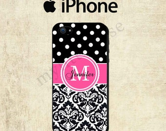 Monogram iPhone 6 Case - iPhone 5C Case - Polka Dot Damask iPhone 5 Case - Monogram iPhone 5S Case - Personalized iPhone 5 Case