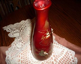 Asian Red Vintage Vase