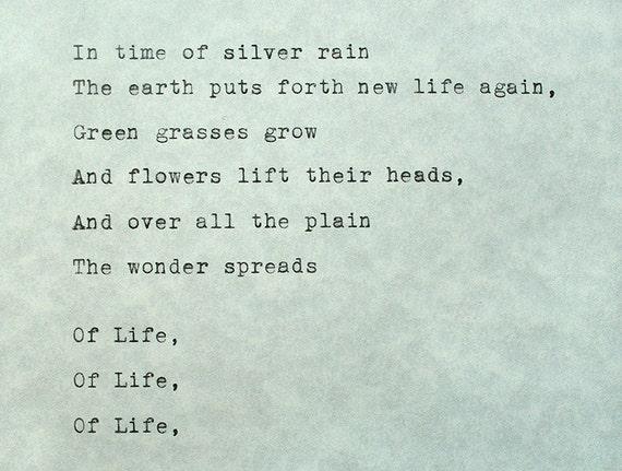 Type Writer Poem Langston Hughes In Time Of Silver Rain