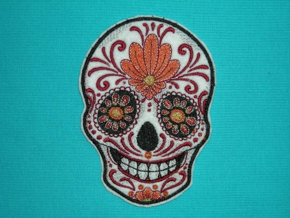 Sugar Skull Iron On Patch Fire and Ice 3 1/4 by ...