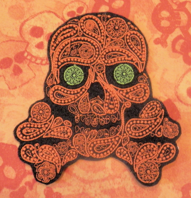 Sugar Skull Iron On Patch Day of the Dead Dia de los