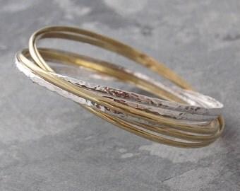Silver Bangles - Gold Bangle - Stacking Bangle - Wire Bangle - Bangles Set - Silver and Gold Bangle - Hammered Bangles - Russian Bangle