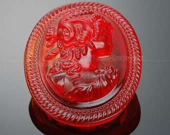 Czech Red Glass Button - oval, red with head of a lady (S155)