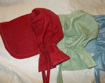 Calico pioneer bonnets.