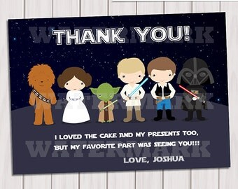 Galaxy wars Thank you card / Note Card Star wars/ thank you card Personalized Printable pdf