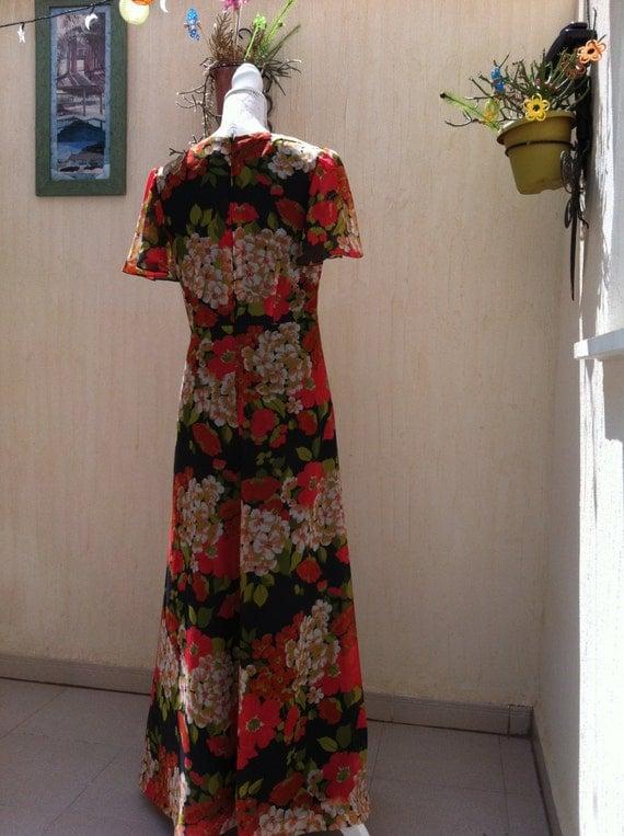 robe longue vintage ann es 70 robe longue par vintagebeachhut. Black Bedroom Furniture Sets. Home Design Ideas