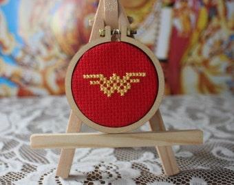 Wonder Woman Mini Cross Stitch Button