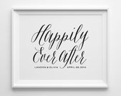 Personalized Gift for Couple Gift for Newlyweds Husband Gift, Custom Engagement Gift, Black Happily Ever After Typography Print Wedding Gift