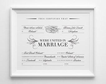 Custom Marriage Certificate, Personalized Wedding Keepsake, Calligraphic Bird, Black and White Wedding, Wedding Shower Gift