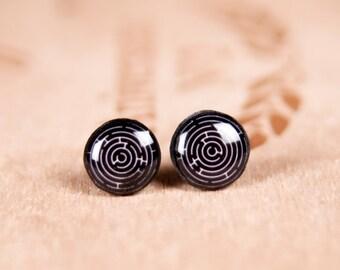 Tiny Stud Earrings, Small Earrings,Small Studs, Labyrinth Earrings, Mens Earrings, Black Stud Earrings, Maze Earrings