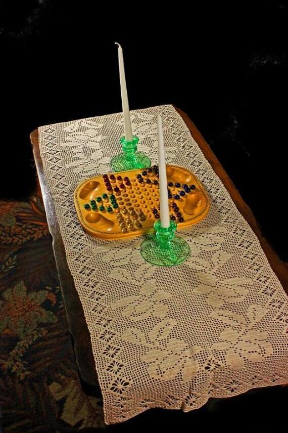 Crochet, Table Runner, Dresser Scarf,  Piano Cover,  Fine Art Crochet,  Roses and Diamonds, --ON SALE--