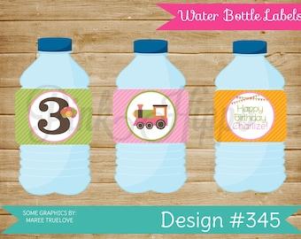 Train Girl:345- PRINTABLE WATER BOTTLE Labels