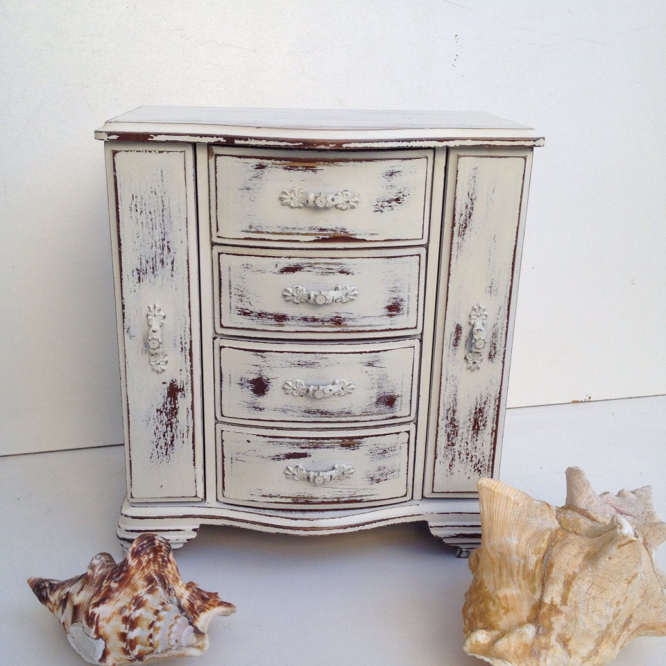 shabby chic jewelry box music box white rustic jewelry armoire. Black Bedroom Furniture Sets. Home Design Ideas