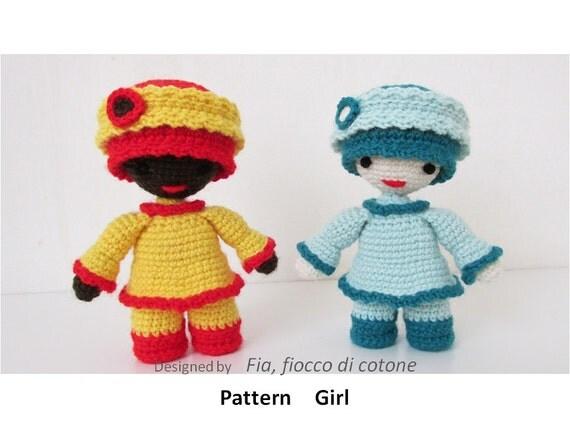 Amigurumi Mini Doll Pattern : Pattern Girl miniature doll amigurumi crochet by cottonflake