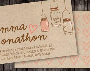 Rustic Mason Jars Digital Wedding Invitation