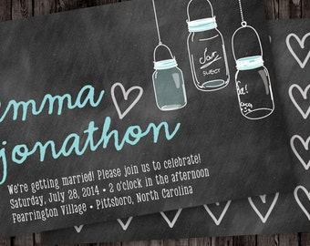 Mason Jars on a Chalkboard Digital Wedding Invitation - Rustic Wedding Invitations - Trendy Bridal Invites - Wedding Printable