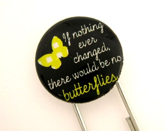 Butterflies, Jumbo Paperclip Bookmark with Glass Tile
