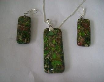 Green Ocean Jasper Pendant and Earring Set - Sterling