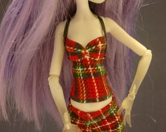 Dolls tops clothes for Monster high doll- Red Plaid- No.711