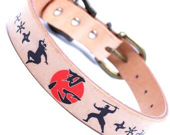 Japanese 1inch width leather large dog collar NINJA SHINOBI kanji A2202